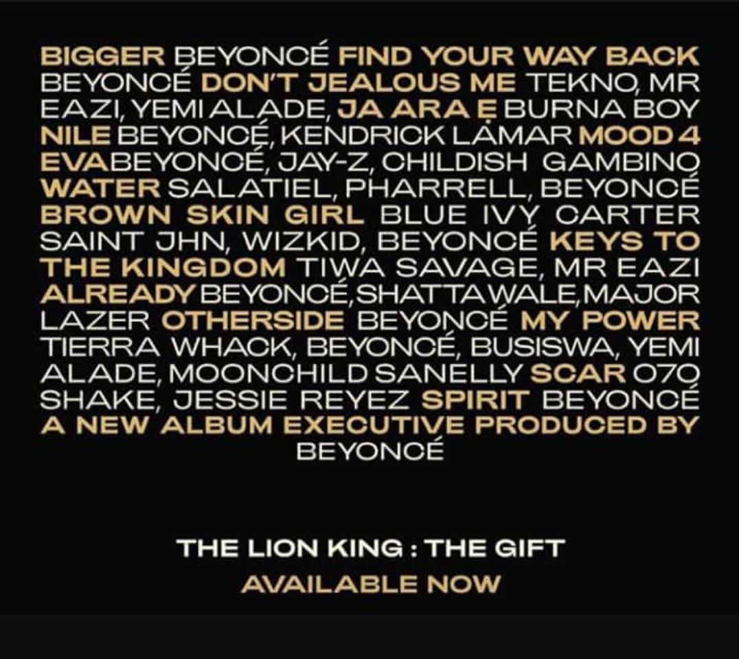 Beyonce's 'The gift' album, 'Lion King' soundtrack feature Africa's best