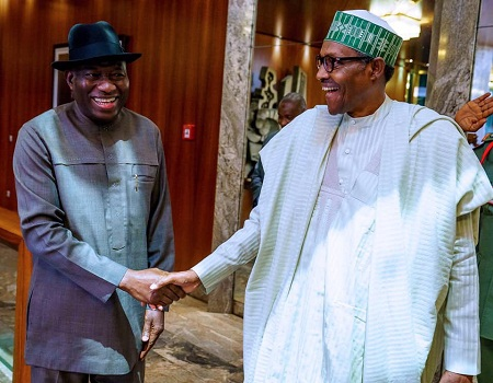 Ex-President Jonathan keeps mum after meeting Buhari at Aso Rock